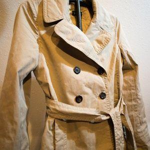 J. Crew Khaki Trench Coat Hip Length Size 2